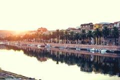 Beautuful sunset in the little town. Boda. Sardinia. Italy. Stock Photos