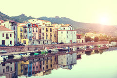 Beautuful sunset in the little town. Boda. Sardinia. Italy. Royalty Free Stock Images