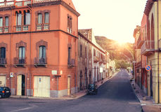 Beautuful sunset in the little town. Boda. Sardinia. Italy. Stock Images