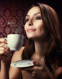 Beautuful Woman Drinking Coffee Royalty Free Stock Images