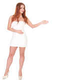 Beautuful woman with red long hair posing in white dress Royalty Free Stock Photos