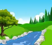Beauty湖有风景背景 免版税图库摄影
