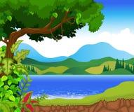 Beauty湖有风景视图背景 免版税库存图片