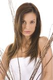 Beauty. Young woman on white holding brown sticks Royalty Free Stock Photography