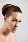 Beauty. Beautiful brunette with simpel and elegant hairstyle Stock Image