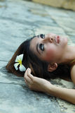 Beauty. Portrait of beautiful woman lie down Royalty Free Stock Photos