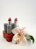 Beauty. A still life of nail polish, lipstick and a lily Royalty Free Stock Photography