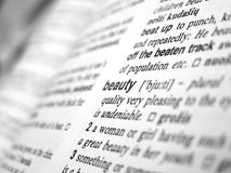 Beauty. Word 'Beautry' in the dictionary stock image