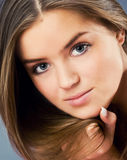 Woman with brunette hair Stock Photos