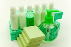 Beauty Accessories. Set of Hygienic Cleansing Supplies Royalty Free Stock Photos