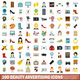 100 beauty advertising icons set, flat style. 100 beauty advertising icons set in flat style for any design vector illustration Stock Photo