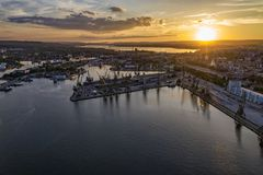 Beauty aerial drone view of the sea port and industrial harbor zone stock photos