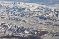 Beauty aerial view Iceland mountain landscape during winter season Stock Photography