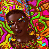 Beauty of Africa. Colorful digital art scene of  a beautiful African woman, Stock Photo