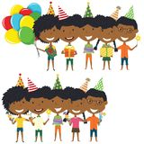 Beauty African-American young boys and girls hugging and holding. Colorful wrapped gift boxes, bright balloons, cocktails and fireworks. Happy Birthday Stock Images