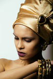 Beauty african woman in shawl on head, very Royalty Free Stock Images