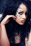 Beauty afro girl with cat make up, creative leopard print closeu Stock Images