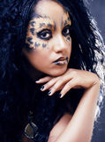 Beauty afro girl with cat make up, creative leopard print Royalty Free Stock Image
