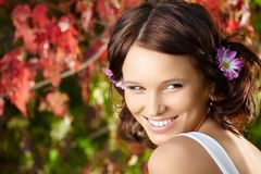Beauty against foliage Royalty Free Stock Images
