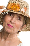 Beauty aged senior woman with summer hat stock photos