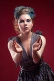 Beauty alien woman in futuristic dress Stock Images