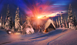 Beauty Alpine sunrise Royalty Free Stock Photos