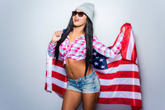 Beauty with American flag. Stock Photography