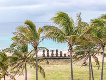 The Beauty of Anakena. The magic views from the Anakena beach, Easter Island, Chile stock image