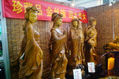 The beauty of ancient Chinese carvings landscape, with carved nanmu. China four beauties of ancient carvings landscape, is carved nanmu. Sale at the exhibition royalty free stock photography