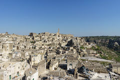 Beauty of ancient ghost town of Matera Sassi di Matera in brig. Ht sun shine summer with blue sky, south Italy Stock Image