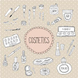 Beauty And Cosmetics Icons Doodles Stock Images