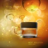 Beauty anti aging cream ads. Beauty regenerative anti wrinkle cream ad. Cosmetics package design. Vector beauty illustration. Moisturizing facial cream glass Stock Photos
