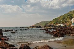 Beauty Arambol beach. Landscape, Goa state, India Royalty Free Stock Photo