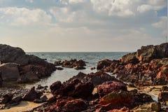 Beauty Arambol beach landscape. With rocks, Goa state, India Royalty Free Stock Photos