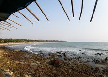 Beauty arambol beach landscape goa india. Beauty arambol rocky beach in sunny day with clean meadow sky Stock Images