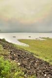 Beauty around the lake. Ulhitiya lake (Man made) in Mahiyanganaya Sri Lanka. Known as a main source of water supply for the surrounding rise and vegetable farm Stock Photo