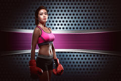 Beauty asian boxer girl with boxing gloves Stock Photo