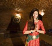 Beauty asian girl greeting Stock Photos