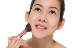 Beauty asian girl make up her face. Look to good healthy Stock Photography