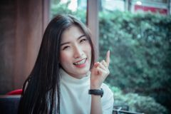 Beauty asian girl`s smiling and looing at happy emotion day royalty free stock photography