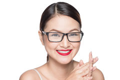 Beauty asian model girl with perfect skin wearing glasses, isolated on white background. stock images