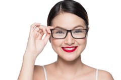 Beauty asian model girl with perfect skin wearing glasses, isola Stock Photography