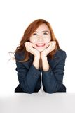 Beauty Asian office girl smile resting her chin on hand Royalty Free Stock Photos