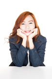 Beauty Asian office girl smile resting her chin on hand Stock Photos