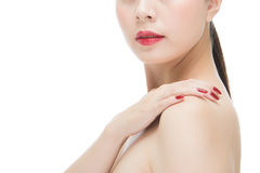 Beauty asian red lipstick woman nail polish finger on shoulder Stock Images