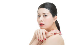 Beauty asian red lipstick woman nail polish finger on shoulder Royalty Free Stock Photos