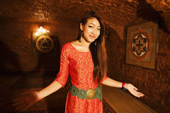 Beauty asian vietnam girl greeting in camera Stock Image