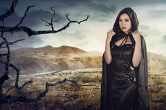 Beauty of asian witch woman stock image