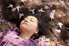 Beauty asian woman asleep Stock Images