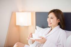Woman enjoy coffee in morning stock image